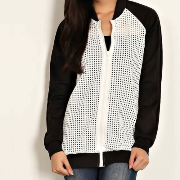 Lemon Tree Jackets & Blazers - B2G1 Fishnet Zipper Front Raglan Athletic Jacket